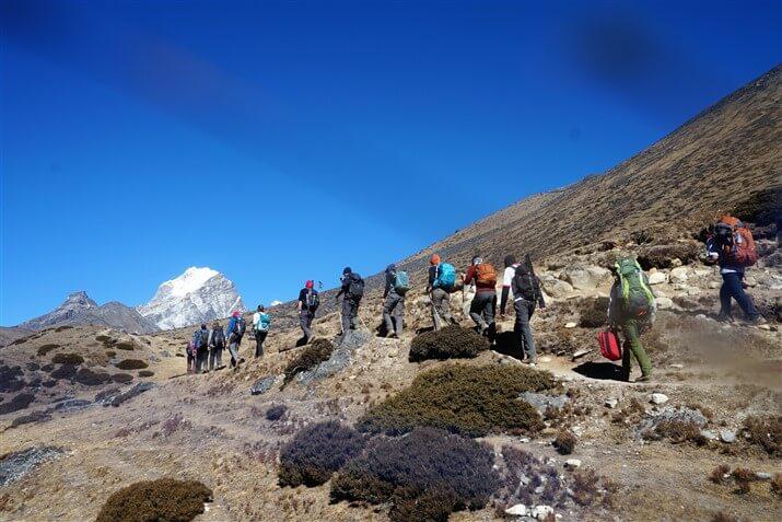 wedding group trekking towards Everest base camp