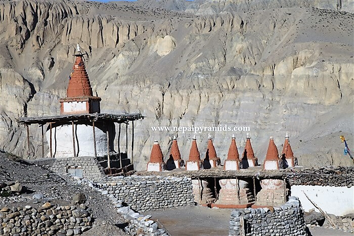 the spiritual chortens in the region of upper mustang