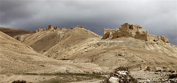 remains of ruined fortress and watch towers in Upper Mustang